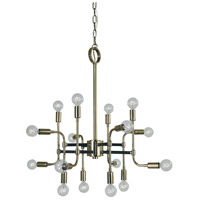 Fusion 16 Light 28 inch Polished Nickel and Matte Black Dining Chandelier Ceiling Light