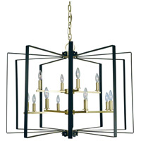 Framburg 3058SB/MBLACK Camille 12 Light 36 inch Satin Brass with Matte Black Accents Foyer Chandelier Ceiling Light