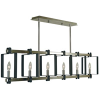 Camille 6 Light 40 inch Polished Nickel and Matte Black Island Chandelier Ceiling Light