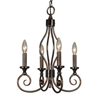 HA Framburg Katarina 4 Light Mini Chandeliers in Roman Bronze/Red 4234RB/R
