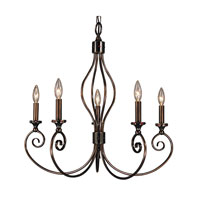 HA Framburg Katarina 5 Light Dining Chandeliers in Roman Bronze/Red 4235RB/R