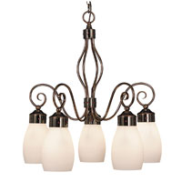 HA Framburg Katarina 5 Light Dinette Chandeliers in Roman Bronze/Red 4236RB/R