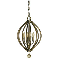Dewdrop 4 Light 12 inch Antique Brass Chandelier Ceiling Light