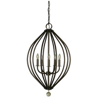 Dewdrop 5 Light 21 inch Mahogany Bronze Chandelier Ceiling Light