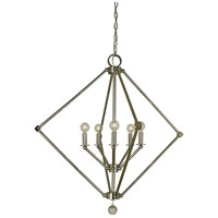 HA Framburg Diamond 5 Light Foyer Chandelier in Polished Nickel 4386PN