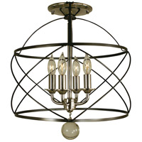 Nantucket 4 Light 13 inch Mahogany Bronze and Polished Nickel Semi-Flush Mount Ceiling Light