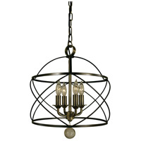 Nantucket 4 Light 13 inch Mahogany Bronze and Antique Brass Chandelier Ceiling Light