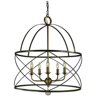 HA Framburg Nantucket 5 Light Chandelier in Mahogany Bronze and Antique Brass 4415MB/AB