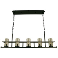 Framburg 4438MB/C Hammersmith 5 Light 41 inch Mahogany Bronze Island Chandelier Ceiling Light in Clear