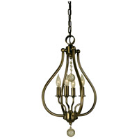 Dewdrop 4 Light 12 inch Antique Brass Pendant Ceiling Light