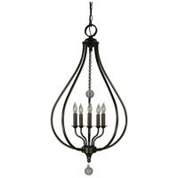 Dewdrop 5 Light 20 inch Mahogany Bronze Pendant Ceiling Light