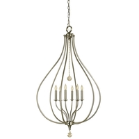 Dewdrop 5 Light 20 inch Brushed Nickel Pendant Ceiling Light