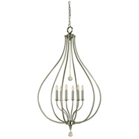Dewdrop 6 Light 29 inch Brushed Nickel Pendant Ceiling Light
