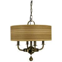 HA Framburg Meridian 4 Light Chandelier in Antique Brass 4464AB
