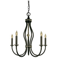 Isolde 5 Light 23 inch Mahogany Bronze Chandelier Ceiling Light