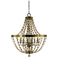 HA Framburg Naomi 6 Light Foyer Chandelier in Antique Brass 4486AB
