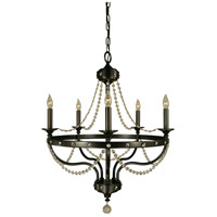 HA Framburg Isolde 5 Light Chandelier in Mahogany Bronze 4505MB