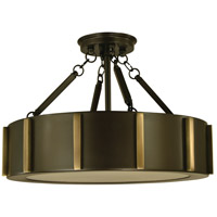 Pantheon 4 Light 16 inch Mahogany Bronze with Antique Brass Flush Mount Ceiling Light