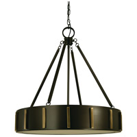 Pantheon 4 Light 23 inch Mahogany Bronze with Antique Brass Pendant Ceiling Light