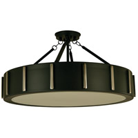 Pantheon 4 Light 23 inch Matte Black with Polished Nickel Flush Mount Ceiling Light