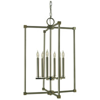 HA Framburg Lexington 6 Light Dining Chandelier in Brushed Nickel with Polished Nickel 4606BN/PN