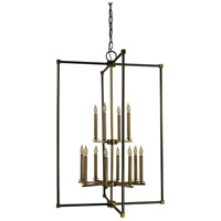 Lexington 12 Light 30 inch Mahogany Bronze with Antique Brass Chandelier Ceiling Light