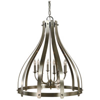 HA Framburg Julienne 8 Light Foyer Chandelier in Brushed Nickel with Polished Nickel 4628BN/PN