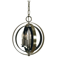 HA Framburg Constell 4 Light Mini Chandelier in Polished Nickel with Matte Black 4650PN/MBLACK