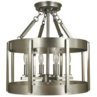 Pantheon 4 Light 14 inch Satin Pewter with Polished Nickel Semi-Flush Mount Ceiling Light in Satin Pewter/Polished Nickel