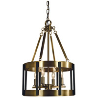 Pantheon 4 Light 14 inch Antique Brass with Matte Black Dining Chandelier Ceiling Light in Antique Brass/Matte Black