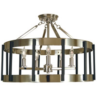 Pantheon 5 Light 22 inch Polished Nickel with Matte Black Semi-Flush Mount Ceiling Light in Polished Nickel/Matte Black