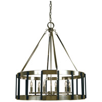 Pantheon 6 Light 28 inch Polished Nickel with Matte Black Dining Chandelier Ceiling Light in Polished Nickel/Matte Black