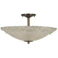 Brocatto 3 Light 19 inch Antique Brass Semi-Flush Mount Ceiling Light