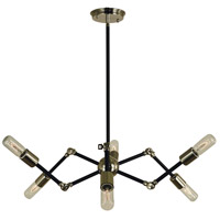 HA Framburg Felix 6 Light Dining Chandelier in Polished Nickel/Matte Black 4686PN/MBLACK
