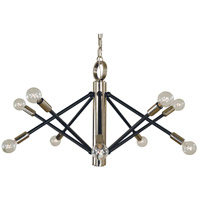 Felix 10 Light 28 inch Polished Nickel with Matte Black Accents Chandelier Ceiling Light