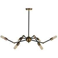 Felix 6 Light 33 inch Antique Brass with Matte Black Island Chandelier Ceiling Light in Antique Brass/Matte Black