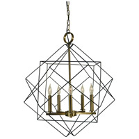 Etoile 5 Light 24 inch Mahogany Bronze/Antique Brass Dining Chandelier Ceiling Light