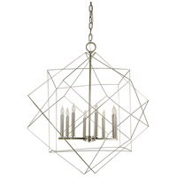 HA Framburg Etoile 8 Light Foyer Chandelier in Satin Pewter/Polished Nickel 4708SP/PN