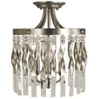 Adele 4 Light 12 inch Satin Pewter with Polished Nickel Semi-Flush Mount Ceiling Light