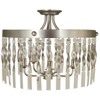 Adele 5 Light 20 inch Satin Pewter with Polished Nickel Semi-Flush Mount Ceiling Light