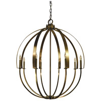 Luna 8 Light 36 inch Antique Brass Chandelier Ceiling Light