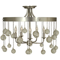 Falling Stars 5 Light 20 inch Satin Pewter/Polished Nickel Semi-Flush Mount Ceiling Light