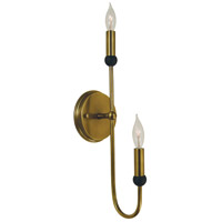 Nicole 2 Light 5 inch Antique Brass with Matte Black Sconce Wall Light in Antique Brass/Matte Black