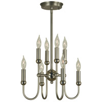 HA Framburg Nicole 8 Light Mini Chandelier in Satin Pewter/Polished Nickel 4794SP/PN
