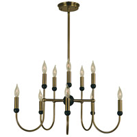 HA Framburg Nicole 10 Light Dining Chandelier in Antique Brass/Matte Black 4795AB/MBLACK