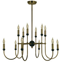 HA Framburg Nicole 12 Light Dining Chandelier in Antique Brass/Matte Black 4798AB/MBLACK