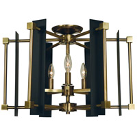 Framburg 4803AB/MBLACK Louvre 5 Light 22 inch Antique Brass with Matte Black Accents Semi Flush Mount Ceiling Light