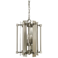 HA Framburg Louvre 4 Light Mini Chandelier in Satin Pewter/Polished Nickel 4804SP/PN