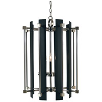 HA Framburg Louvre 5 Light Foyer Chandelier in Polished Nickel/Matte Black 4805PN/MBLACK