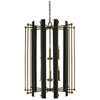 Louvre 12 Light 32 inch Antique Brass/Matte Black Foyer Chandelier Ceiling Light